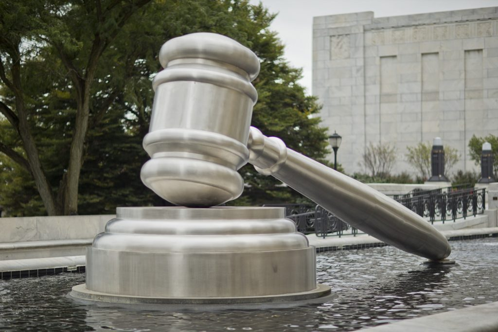 A gavel statue emphasizing a case denied to transfer to small claims court