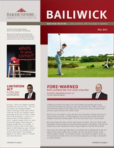 Fall 2013 Quarterly Law Newsletter - Negligence on the Golf Course