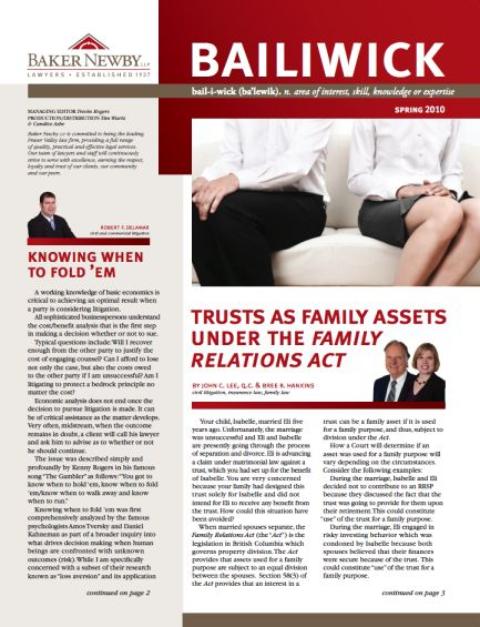 Spring 2010 Quarterly Law Newsletter - Family Trust Assets