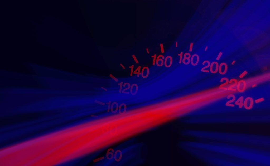 Impaired Driver seeing a blurred speedometer while speeding.