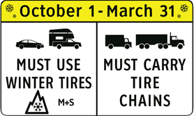 A road sign enforcing the winter tire regulations in the Motor Vehicle Act.