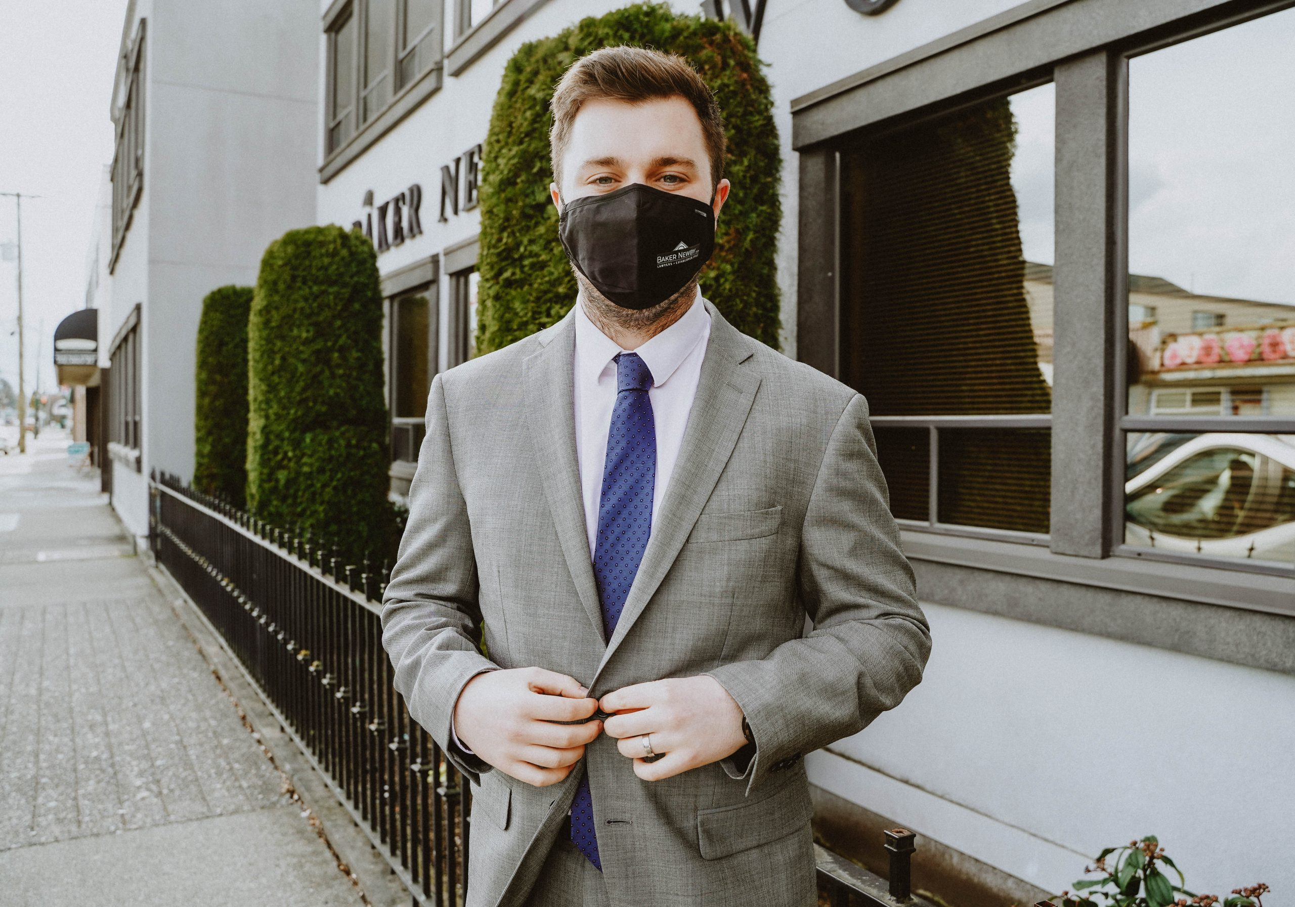 Baker Newby Lawyer with a mask